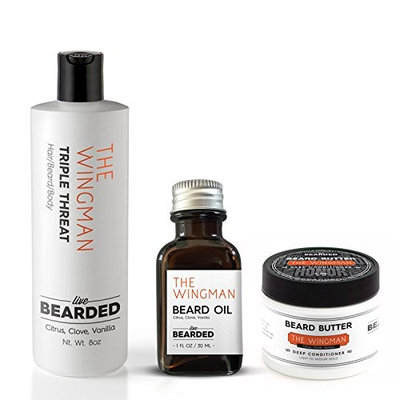 Sandalwood Beard Kit | Live Bearded Made in USA | Legend Sandalwood with a touch of Vanilla Beard Bundle [Sandalwood Vanilla - The Legend]