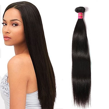 ALi Queen 1 Bundle Straight Brazilian Remy Human Hair Weave 100% Human Hair Extensions Natural Black 100g (10 inches)