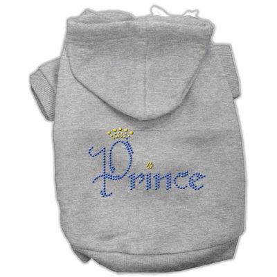 Mirage Pet Products 5466 XXLGY Prince Rhinestone Hoodies Grey XXL 18