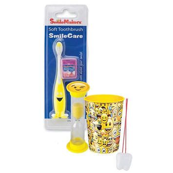 Emoji Inspired 4pc. Bright Smile Oral Hygiene Set! Toothbrush, BubbleGum Flavored Dental Floss, Brushing Timer & Mouthwash Rinse Cup! Plus