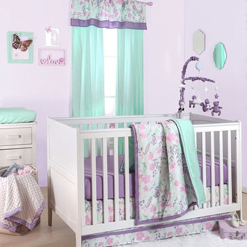 Pink and Purple Floral and Mint Dot 4 Piece Crib Bedding by The Peanut Shell