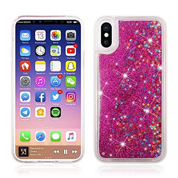 Urberry Iphone 8 Case,Running Glitter Cover, Sparkle Love Heart, Creative Design Flowing Liquid Floating Luxury Bling Glitter Sparkle for Iphone 8 with a Screen Protector