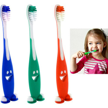 Atb 3 Smiley Happy Toothbrush Suction Cup Stand Soft Bristles Kids Toddler Oral Care