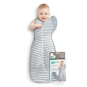 Love To Dream Swaddle UP 50/50 Transition Bag, Gray, Medium, 13-18.5 lbs, Patented Zip-Off Wings, Gently Help Baby Safely Transition from Being swaddled to arms Free Before Rolling Over