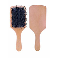 Milaya Beauty Natural Boar Bristle and Detangler Wooden Paddle Hair Brush with Nylon pins and Cleaning Tool for Women Men Girl Ideal for All Hair Types
