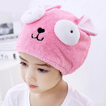 Adjustable Plush Cute Big Eyes Baby Hair Drying Hat Soft Baby Shower Hat Protect Baby Cap Quick Dry Hair Drying Cap Towel Head Wrap Hat Cute Strong Absorbing Hair Cap for Kid Boy Girl,Pink