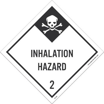 DL105ALV National Marker Dot Shipping Label, Inhalation Hazard 2, 4 Inches x 4 Inches, Ps Vinyl, 500/Roll