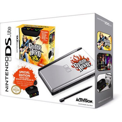 Nintendo DS Lite Guitar Hero: on Tour Bundle HandHeld Game Console Black/Silver