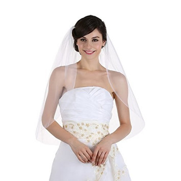 1T 1 Tier Plain Cut Edge Bridal Wedding Veil Elbow Length 30