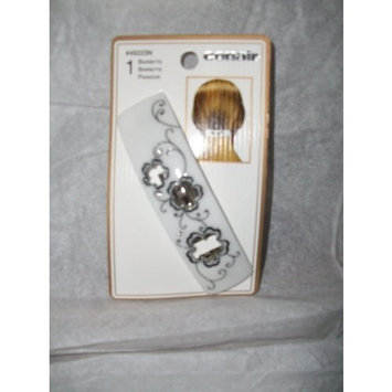 Conair Gold Collection White with Black Trim Barrette Genuine Crystals