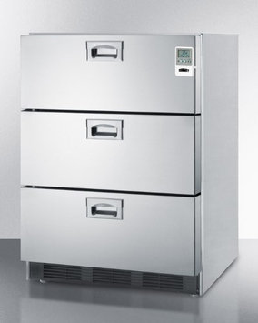 Summit Commercially approved three-drawer refrigerator in stainless steel for built-in use, with temperature alarm, hospital grade cord, and internal fan