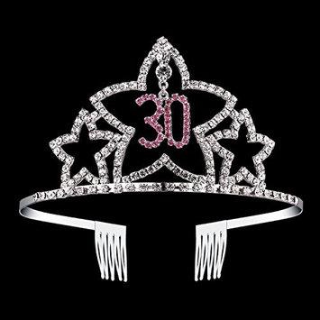 BABEYOND Crystal Rhinestone Tiara Headband Comb Pin Happy Birthday Crown (30th)