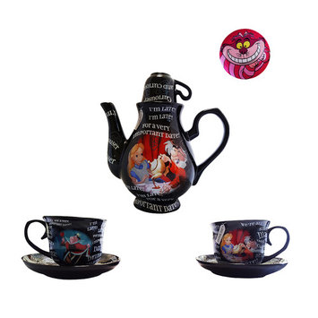 Disney Parks Alice in Wonderland Tea Gift Set with Cheshire Cat Pin and Wonderland Teas