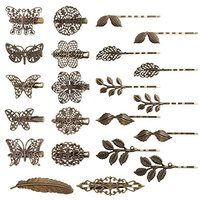 Velscrun 22 Pieces Vintage Hair Clips Barrettes Bronze Leaf Feather Bobby Pin Flower Butterfly Hair Clip for Girls and Women, Mix Styles