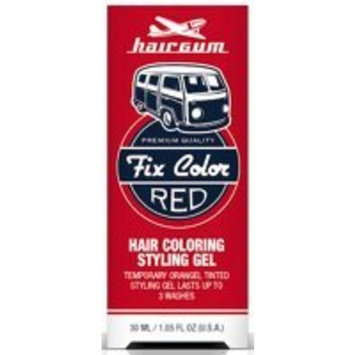Hairgum Fix Color Temporary Hair Coloring Styling Gel - Red 1 oz. (Pack of 6)