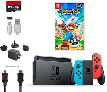 Nintendo & Ushopmall Nintendo Switch Bundle (6 items): 32GB Console Gray Joy-con, 128GB Micro SD, Joy-Con (L/R)-Neon Red/Neon Blue, Game Disc Mario + Rabbids Kingdom Battle, Type C Cable, Wall Charger