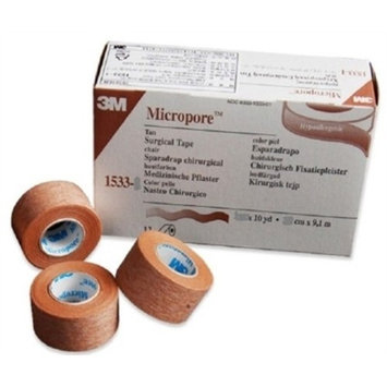 Micropore Surgical Medical Tape, Tan, Paper, 2 Inch X 10 Yards, 3M 1533-2, Single Roll
