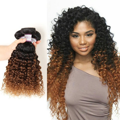 Racily Hair 8A Grade Ombre Peruvian Curly Hair 4 Bundles Auburn Brown Kinky Curly Hair Extensions 1B 30 Unprocessed Virgin Human Hair Weave (16