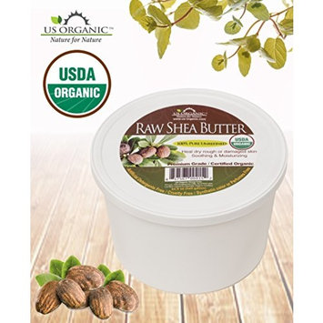 #1 USDA Certified Organic Shea Butter, Virgin, Raw African Unrefined, 100% Pure Premium Quality, Ivory Color, Great for DIY lotion, Soap base, body butter, lip balm, moisturizer by US Organic - 8 oz