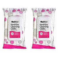 Maxithins Feminine Hygiene Cleansing Cloths for Sensitive Skin with Aloe, 2-pk