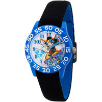 Disney Mickey Mouse Boys' Blue Plastic Time Teacher Watch, Reversible Black and Blue Nylon Strap