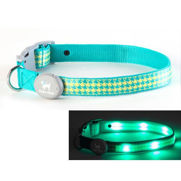 Dog-e-glow Light Up LED Dog Collar - Patented Light Up Durable Glowing Collar for Puppies and Dogs - by Dog e Glow (Green Houndstooth, Large 15