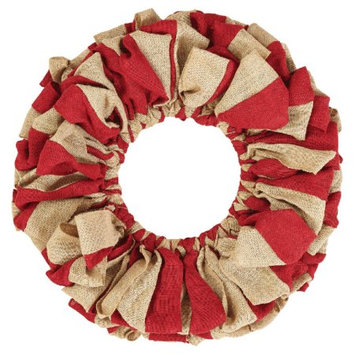 VHC Brands 26851 Red and Natural Burlap Wreath