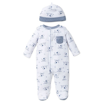 Puppy Toile Snap Front Footie Pajamas with Hat For Baby Boys Sleep N Play One Piece Romper Coverall Cotton Infant Footed Sleeper; Pijamas Para Bebes- White and Blue Striped and Dog Print - 9 Months