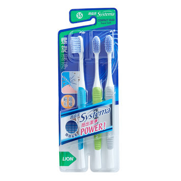 LION - Systema Spiral Toothbrush (SS) (Random Color) 3 pcs