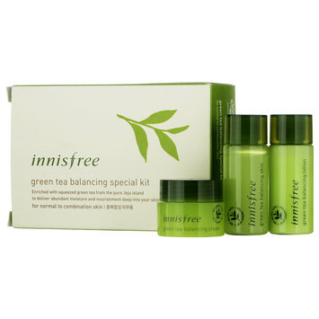 Innisfree - Green Tea Balancing Special Kit: Skin 15ml + Lotion 15ml + Cream 5ml 3 pcs