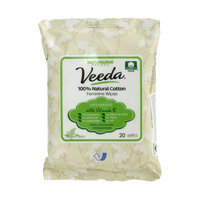 Veeda - 100% Natural Cotton Feminine Wipes pH-balanced with Vitamin E 20 sheets