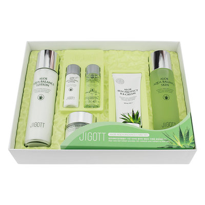 Jigott - Aloe Aqua Balance Skin Care Set 4: Toner 150ml + Toner 30ml + Lotion 150ml + Lotion 30ml + BB Cream 50ml + Cream 50ml 6 pcs