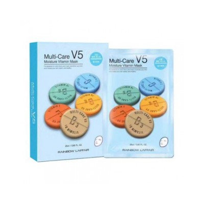 Rainbow - Laffair Multi-Care V5 Moisture Vitamin Mask (Blue) 10 pcs