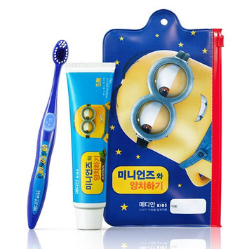 MEDIAN - Minions Kids Oral Care Set (Blue): Mint Choco Toothpaste 75g + Toothbrush 1 pc 2 pcs