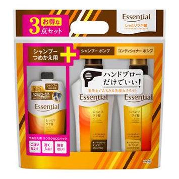 Kao - Essential Auto Smooth Technology Set (Moist): Shampoo 480ml + Conditioner 480ml + Shampoo (Refill) 340ml 2 pcs