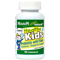 Healthy Kids Probiotic with Fiber, 60 Chewable Tablets, Mason Natural