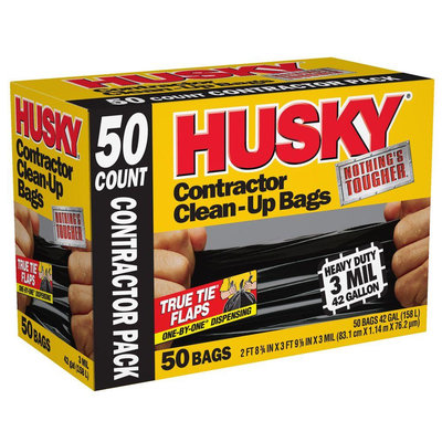 Husky Trash Bags 42 gal. Contractor Bags (50 Count) HK42WC050B