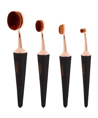 Iconic London EVO Brush Set of 4 - Black and Gold