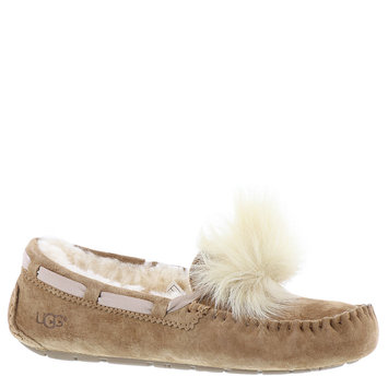 Women's Ugg Dakota Genuine Shearling Pompom Slipper, Size 8 M - Brown