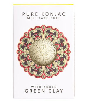 Konjac Sponges Pure Konjac Mini Face Puff with Green French Clay