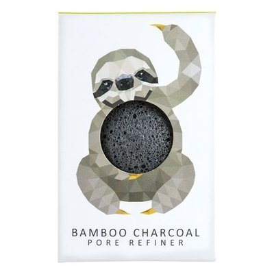 Konjac Sponge Co Konjac Mini Rainforest Pore Refiner Bamboo Charcoal - Sloth