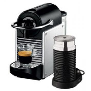 Nestle Nespresso Pixie and Milk Aluminum And Black Espresso Machine