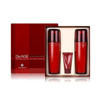 Charm Zone DeAGE Red Addition Set: Skin Toner 110ml + Emulsion 110ml + Control Cream 15ml 3pcs