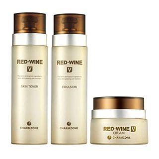 Charm Zone RED WINE V Set: Skin Toner 130ml + Emulsion 130ml + Cream 50ml 3pcs