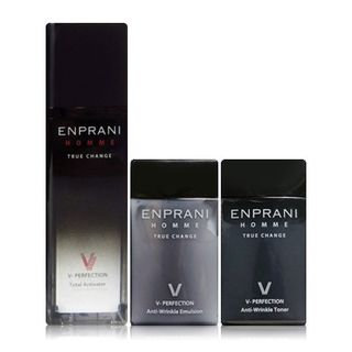 Enprani Homme V-Perfection Set: Total Activator 50ml + Anti-Wrinkle Toner 40ml + Anti-Wrinkle Emulsion 40ml 3pcs