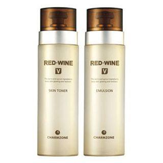 Charm Zone RED-WINE V Set: Skin Toner 130ml + Emulsion 130ml 2pcs