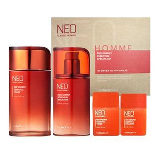 The Face Shop Neo Classic Homme Red Energy Essential Set: Toner 140ml + 30ml + Emulsion 110ml + 30ml 4pcs