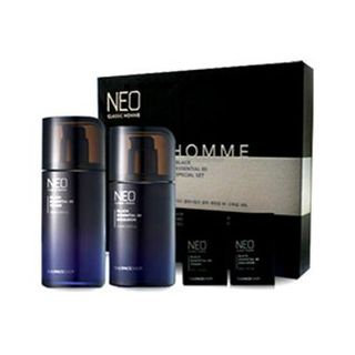 The Face Shop Neo Classic Homme Black Essential 80 Set: Toner 130ml + 30ml + Emulsion 110ml + 30ml