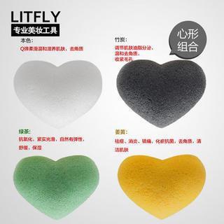 Litfly Natural Konjac Sponge (Heart) (4 pcs) 4 pcs