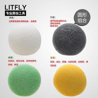 Litfly Natural Konjac Sponge (Round) (4 pcs) 4 pcs